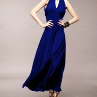 Blue Jersey Maxi Dress with Embellished Neckline