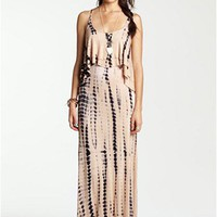 Mimi Chica Tie Dye Cutout Back Tiered Maxi Dress (Juniors) | Nordstrom