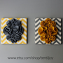 "Two Wall Art Canvases, Yellow and Gray Chevron 12x12"" Wall Hangings, 3D Flower Wall Decals, Nursery Art, Yellow Gray Nursery Decor"