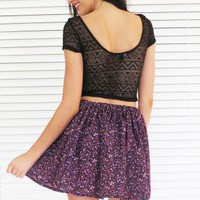 Skirt High Waist Gathered Mini in Purple Floral Print