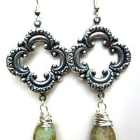 Silver charm Picasso Czech glass wire wrapped earrings, silver jewelry