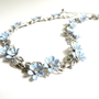 Vintage Trifari Blue Enamel Flower Necklace, Clear Rhinestone Necklace, Floral Choker, Silver Tone Metal