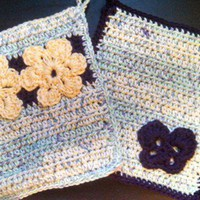 Crochet Pot Holder Set with Flower and Butterfly Motifs