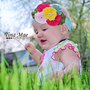 Rainbow Birthday Flower headband, couture baby hair band, newborn headband, newborn photography props, birthday headband, Toronto Canada