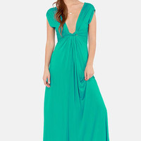 Grand Central Sensation Teal Maxi Dress