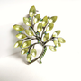 Vintage Green Rhinestone Tree Brooch, Opaque Diamante Green Tree Pin, Silver Tone