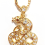 "YEAR OF THE SNAKE GOLD TONE NECKLACE & PENDANT *FREE GIFT BAG & BOX* 23.5"" INCH"