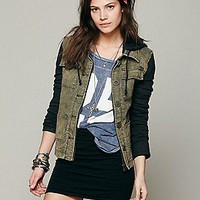 Free People  Knit Hooded Twill Jacket at Free People Clothing Boutique