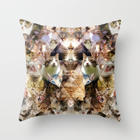 Cat Kaleidoscope Throw Pillow by PatternPeople