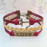 Love Bracelet-Anchor Infinity Retro Bracelet-Hollow Love Symbol Bracelet.Claret Wax Cords and Gold Braid bracelet.