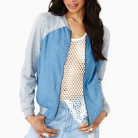 Denim Mesh Bomber