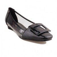 Black Transparent Flat Shoes with Square Toe