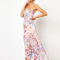 Oasis Painted Print Pleat Front Maxi Dress at asos.com