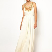 Warehouse Embellished Bib Pleated Maxi Dress at asos.com