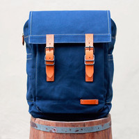 FREE SHIPPING - Canvas Bag Backpack / Leather / Laptop / School / Shopping / Messenger / Travel / Blue / Bag