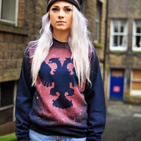 Double headed Eagle print boyfriend Jumper from The Left Bank