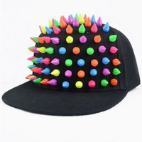 Black Punk Style Cap with Colorful Spike Embellishment