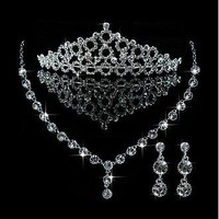 [26.99] Exquisite First-class Austrian Rhinestone & Alloy Wedding Jewelry Set,Including Necklace,Tiara And Earrings - Dressilyme.com