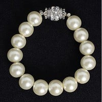 [6.45] Fashion Glass Pearl Bracelets, with Middle East Rhinestone, Ivory - Dressilyme.com