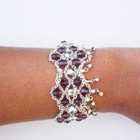 Multistrand Chain Bracelet Deep Purple by GildedGypsy on Etsy