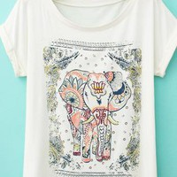Vintage Lovely Elephant Print T-shirts