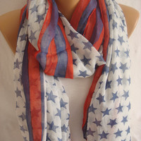 Patriotic Spring Summer Independence Day American Flag Print Scarf-ESCHERPE
