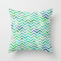 GREEN FLORAL CHEVRON Throw Pillow by Bianca Green