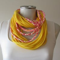 Braided Jersey Fabric Necklace, Boho Summer fashion scarf, Yellow, Pink, and Peach