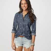 AE Embroidered Denim Shirt | American Eagle Outfitters