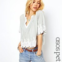 ASOS PETITE Exclusive Crop Top with Lace Trim at asos.com