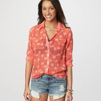 AE Palm Tree Sheer Shirt | American Eagle Outfitters
