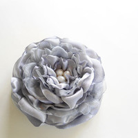 Flower Hair Clips, Wedding Head Pieces, Bridal Hairpieces, Flower Fascinator, Gray Flower Hair Accessories, Brides Floral Headpieces