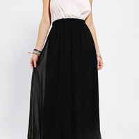 Reverse Silky Colorblock Maxi Dress