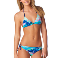 Blue Tropical Floral Print Bikini Top