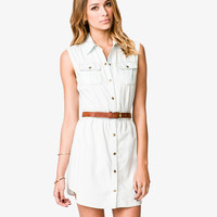 Sleeveless Light Denim Shirtdress | LOVE21 - 2031557463