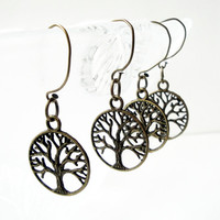 Brass Tree of Life Earrings Round Charm Dangles Earrings Rustic Earrings, Big Hoops Earrings