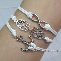 Goodluck Bracelet,Anchor Bracelet,Hamsa&Fatima Hand bracelet,Infinity Bracelet-white wax rope,purple leather bracelet