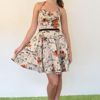 Vintage 50s Print Halter Dress