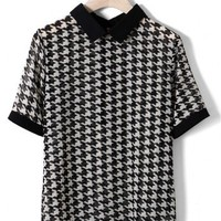 Houndstooth Chiffon Top in Black/White