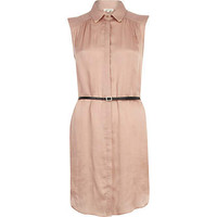 Pink satin sleeveless belted shirt dress - day dresses - dresses - women