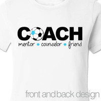 Personalized gift any sport COACH mentor counselor friend womens front and back design Tshirt