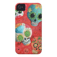 Colorful Sugar Skulls Case-Mate iPhone 4 Case from Zazzle.com