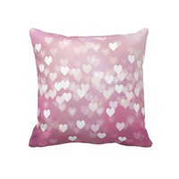 "Pink Hearts Cute Decorative Throw Pillow 20"" x 20"" from Zazzle.com"