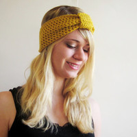 Crochet Ear Warmer Turban Knot Headband The Inbound Headwrap in Mustard Cintrine Yellow