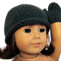 American Girl Doll Hat Mittens Green