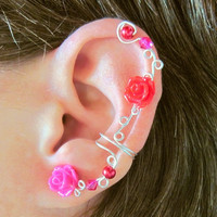 "Non Pierced Ear Cuff  ""Roses and Berries "" Cartilage Conch Cuff Silver tone Prom"