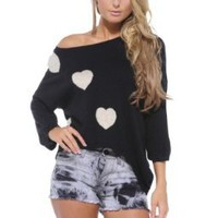 AX Paris Heart Knit Three Quarter Sleeve Jumper:Amazon:Clothing