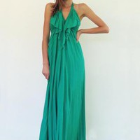 Dress Backless Halter Maxi Belle Etoile Green