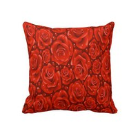 "Red Roses Decorative Throw Pillow 20"" x 20"" from Zazzle.com"