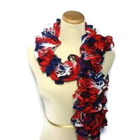 Patriotic Hand Knit Scarf - Red White Blue